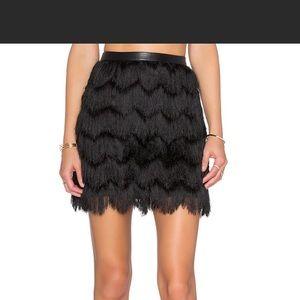 Sam Edelman NWT black Fiona fringe mini skirt sz 6